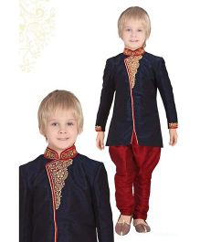 Ethnik's Neu-Ron Kurta & Breeches Set - Navy Blue  And Red