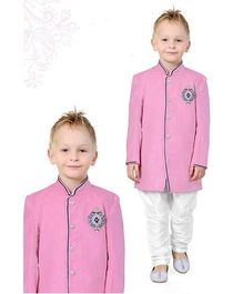 Ethnik's Neu Ron Full Sleeves Sherwani Set - Pink White