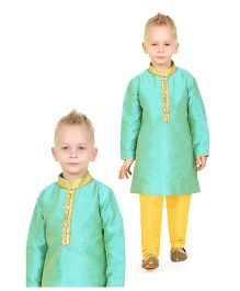 Ethnik's Neu Ron Full Sleeves Kurta And Pajama - Sea Green & Yellow