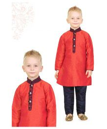 Ethnik's Neu Ron Full Sleeves Kurta Pajama Set - Red & Navy
