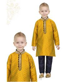 Ethnik's Neu Ron Full Sleeves Kurta Pajama Set - Yellow Blue