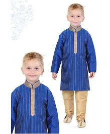 Ethnik's Neu Ron Full Sleeves Kurta Pajama Set - Blue Beige