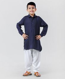 Ethnik's Neu Ron Full Sleeves Kurta And Pajama - Navy Blue White