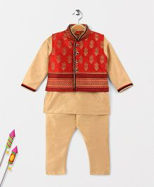 Ethnik's Neu Ron Kurta Jacket And Pajama Set - Beige & Red