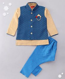 Ethnik's Neu Ron Kurta Jacket And Pajama Set - Blue