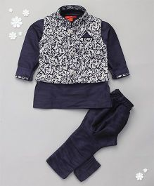 Ethnik's Neu Ron Kurta Jacket And Pajama Set - Blue Grey