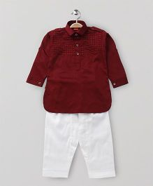 Ethnik's Neu Ron Full Sleeves Kurta And Pajama - Maroon White
