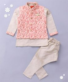 Ethnik's Neu Ron Kurta Jacket And Pajama Set - Pink Off White