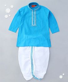 Ethnik's Neu Ron Full Sleeves Kurta With Dhoti - Blue White
