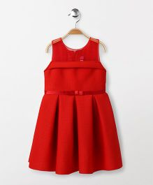 Babyhug Sleeveless Party Wear Pleated Frock - Red