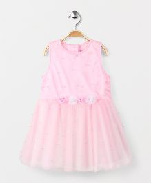 Babyhug Sleeveless Frock With Floral Appliques And Embellishments - Pink