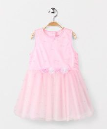 Babyhug Partywear Sleeveless Party Wear Frock Floral Appliques - Pink