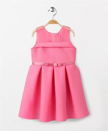 Babyhug Sleeveless Party Frock With Pleats & Checks Print - Pink