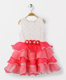 Babyhug Sleeveless Frock With Floral Appliques And Laced Yoke - Pink White