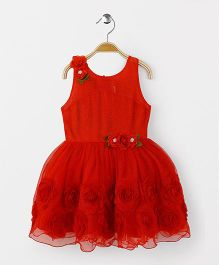 Babyhug Sleeveless Frock With Floral Appliques And Design - Red