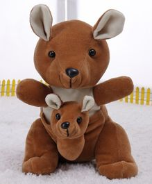 Play Toons Soft Toy Kangaroo With Baby Brown - Height 25.4 cm