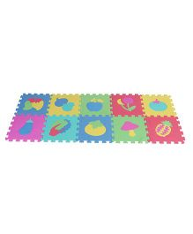 Multi Fruit Print Puzzle Game Mat - Green Multicolor