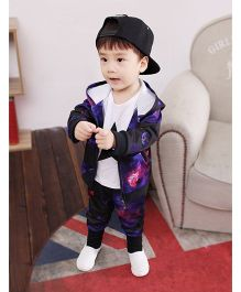 Superfie Galaxy Print Hoodie Jacket & Pants - Purple