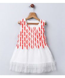 Whitehenz Clothing Summer Falling Leaves Style Party Dress - White & Red