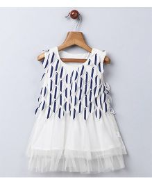 Whitehenz Clothing Summer Falling Leaves Style Party Dress - White & Navy Blue
