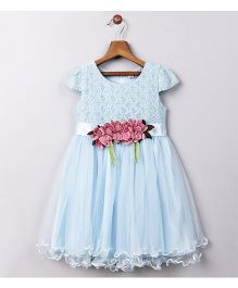 Whitehenz Clothing Rose Applique Belt With Chicken Work Yoke Party Dress - Blue