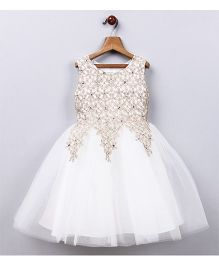 Whitehenz Clothing Adorable Lace Work Flaired Party Dress - White & Golden