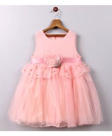 Whitehenz Clothing Precious Pearl Floral Applique Party Dress - Baby Pink