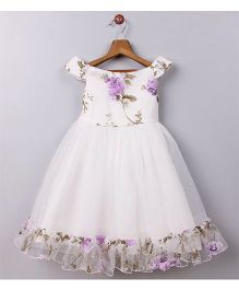 Whitehenz Clothing Rossette Tutu Party Dress - White & Purple