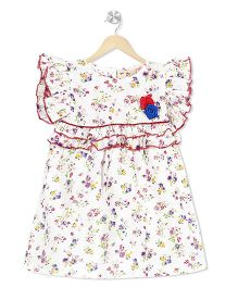 Budding Bees Floral Fit & Flare Dress - Off White