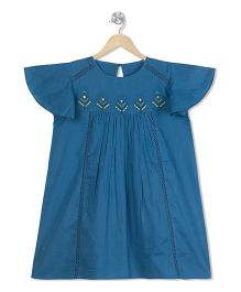 Budding Bees Embroidered Dress - Blue