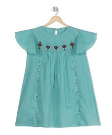 Budding Bees Embroidered Dress - Aqua Green