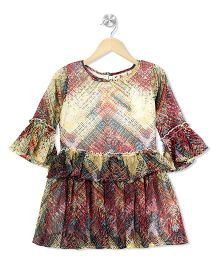 Budding Bees Zigzag Printed Layered Dress - Multicolor