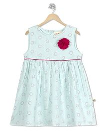 Budding Bees Floral Printed Dress - Sky Blue