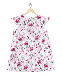 Budding Bees Floral A-Line Dress - White & Pink