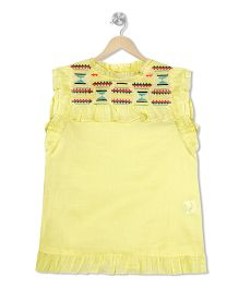 Budding Bees Embroidered Top - Yellow