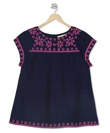 Budding Bees Embroidered Top - Blue