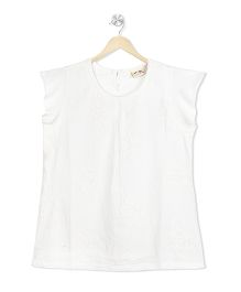 Budding Bees Embroidered Top - White