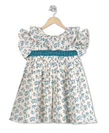 Budding Bees Floral Dress - White & Blue