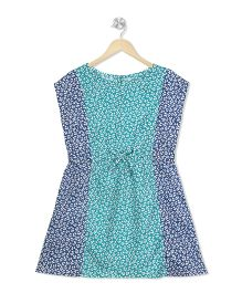 Budding Bees Floral Printed A - Line Dress - Green & Blue
