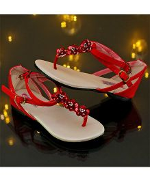 D'chica Blingy I Love Red T-Strap Sandals - Red