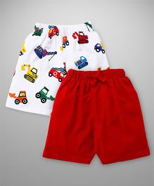 Teddy Casual Shorts Vehicles Print Pack Of 2 - Red White
