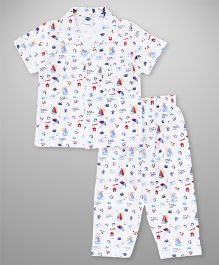 Teddy Half Sleeves Night Suit Multiprint - White