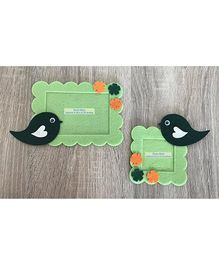 Kalacaree Set Of 2 Bird & Flower Theme Magnetic Photo Frame - Light Green