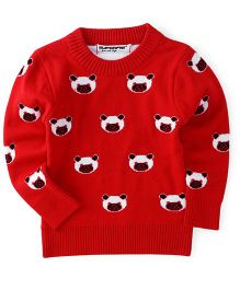 Superfie Teddy Printed Warm Sweater - Red