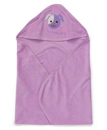 Simply Hooded Wrapper With Face Embroidery - Purple