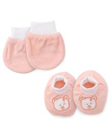 Simply Mittens & Booties Set Bear Embroidery - Peach