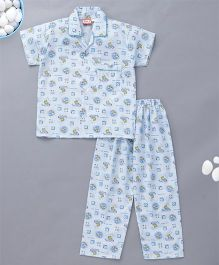 KID1 Happy Bear Print Night Suit - Blue
