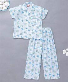 KID1 Funny Cat Print Night Suit - Blue
