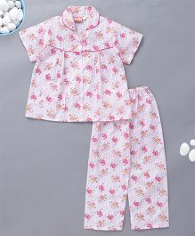 KID1 Funny Cat & Duck Print Night Suit - Pink