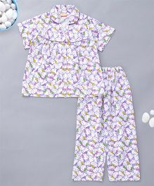 KID1 Kitty Design Night Suit - Purple